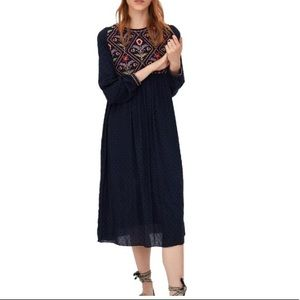 Zara Navy Embroidered Dotted Peasant Midi Dress S